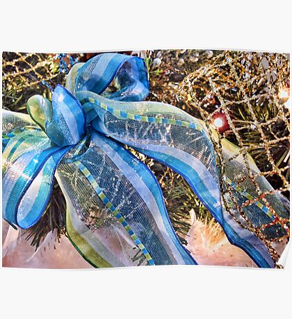 Blue & Silver Christmas Bow ~ Trendy New Year Holiday Gifts w/ Gold Mesh Ribbon, Fluffy Feathers & Xmas Lights Poster