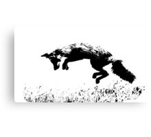 pouncing fox in the meadow Canvas Print