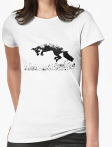 pouncing fox in the meadow Womens Fitted T-Shirt