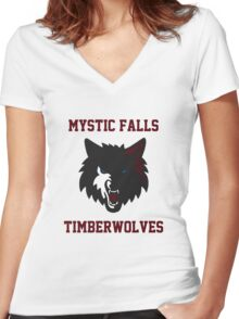 Mystic Falls Timberwolves Women's Fitted V-Neck T-Shirt