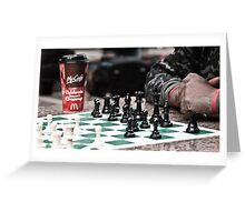 occupy wall street protestor playing chess Greeting Card