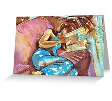 Young Girl Reading Greeting Card