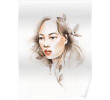 Oriental girl , watercolor Poster
