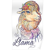 isolated image of cute lama with flower and scarf Poster