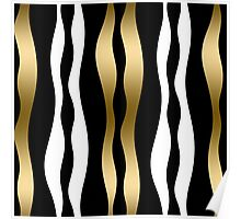 Abstract Zebra Stripes In Black And White Gold Accent Poster