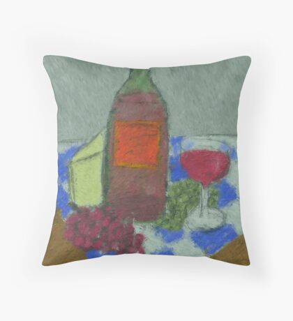 Impressionist Still Life with Wine Throw Pillow