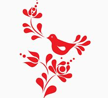 Spring bird and flower in red  Unisex T-Shirt