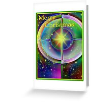 Stained Glass Christmas Cross Greeting Card