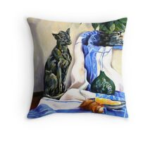 The Cat and the Cloth Throw Pillow