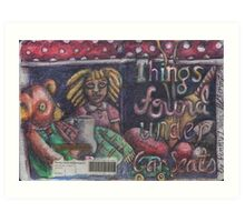 Things Found Under Car Seats -Front Cover (The Sketchbook Project 2012) Art Print