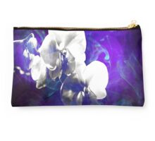 White Orchids in Smoky Blue Studio Pouch