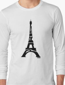 Paris Eiffel Tower Black Long Sleeve T-Shirt