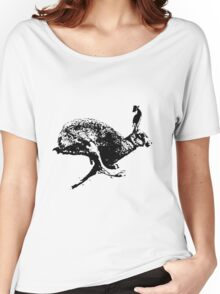bounding hare white Women's Relaxed Fit T-Shirt