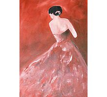 woman in red dress Photographic Print