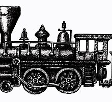 Steam Locomotive black and white pen ink drawing by Vitaliy Gonikman