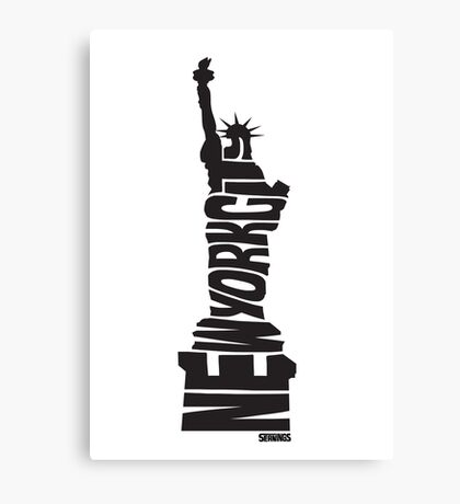 New York City: Statue of Liberty Black Canvas Print