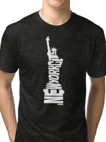 New York City: Statue of Liberty White Tri-blend T-Shirt