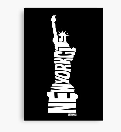 New York City: Statue of Liberty White Canvas Print