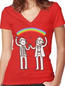 Sherlock and John: Rainbows Women's Fitted V-Neck T-Shirt
