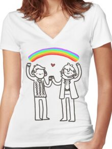 Sherlock and John: Rainbows Women's Fitted V-Neck T-Shirt
