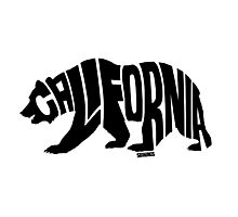 California Grizzly Flag Black Photographic Print