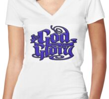To GOD be the Glory in blue Women's Fitted V-Neck T-Shirt