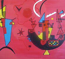 Kandinsky's Mit und Gegen Painting 18x24 in, Original. Acrylic on Canvas by Jasna2020
