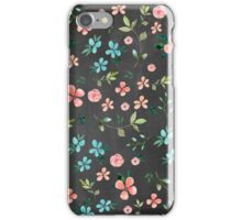 Watercolor floarl pattern, chalckboard background iPhone Case/Skin
