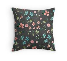 Watercolor floarl pattern, chalckboard background Throw Pillow