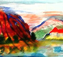 Mountain scene , watercolor by Anna  Lewis