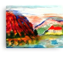 Mountain scene , watercolor Canvas Print