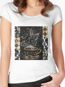 Cafe Noir I Coffee Damask Women's Fitted Scoop T-Shirt