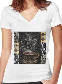 Cafe Noir I Coffee Damask Women's Fitted V-Neck T-Shirt
