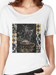 Cafe Noir I Coffee Damask Women's Relaxed Fit T-Shirt