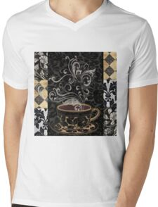 Cafe Noir I Coffee Damask Mens V-Neck T-Shirt
