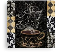 Cafe Noir I Coffee Damask Canvas Print