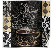 Cafe Noir I Coffee Damask Poster