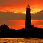 Boston Light at sunset by Jeremy D'Entremont