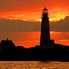 Boston Light at sunset by Jeremy D'Entremont