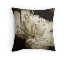 Sepia Peony Flower Art Throw Pillow