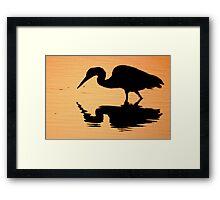 Great blue heron at sunset Framed Print