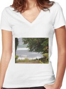 Donegal Peace  Lough Eske- Donegal Ireland Women's Fitted V-Neck T-Shirt