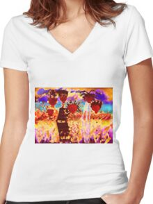 Jamaican Sisters T-Shirt Women's Fitted V-Neck T-Shirt