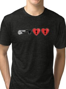 The Key to My Heart - Dr Who (Double Heart) Tri-blend T-Shirt