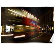 London double-decker bus on the move Poster
