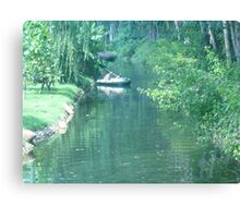 A Man Zig Zagging Down the Stream. Canvas Print