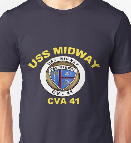 USS Midway (CVB/CVA/CV-41) Crest for Dark Unisex T-Shirt