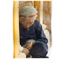 Old woman Phố cổ Hội An Poster
