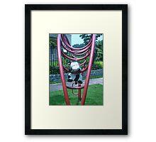 Moo Moo having fun on the monkey bars Framed Print