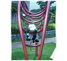 Moo Moo having fun on the monkey bars Poster